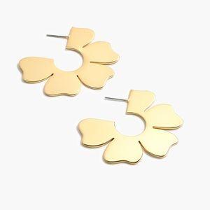 JCREW Blossom Hoop Earrings NWT OS Gold